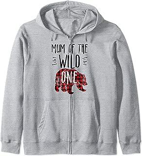 Mum of the Wild One Buffalo Plaid Lumberjack 1st Birthday Zip Hoodie