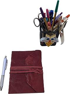 CG - Talento Fiorentino, quaderno, agenda, diario, libro muto rivestito in vera pelle effetto stropicciato vintage col. Ro...