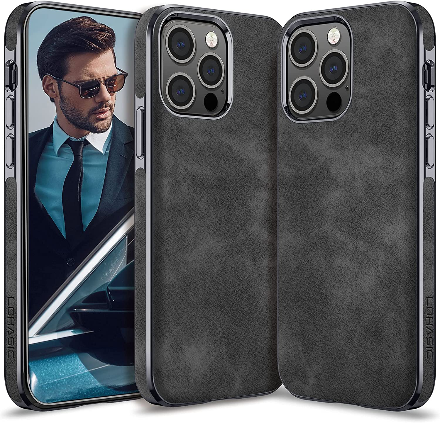 LOHASIC for iPhone 13 Pro Case Men, Phone Cover Women PU Leather Elegant Classy Business Slim Full Body Protective Shockproof Non-Slip Anti-Scratch Soft Grip Bumper 6.1 Inch 2021 Gray