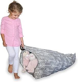 MiniOwls Plush Toy Storage Bean Bag Gray Kids-Med