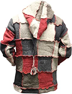 Mens Pixie Red Wool Patchwork Hippy Jacket