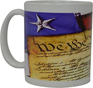 Best Coffee Mug The US Constitution Flag American Patriot Novelty Cup Great Gift Idea For Men Dad Father Husband Military Veteran Conservative United States