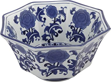 A&B Home, 10.5-Inch Ren Blue and White Centerpiece Bowl