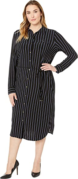 Plus Size Striped Jersey Shirtdress