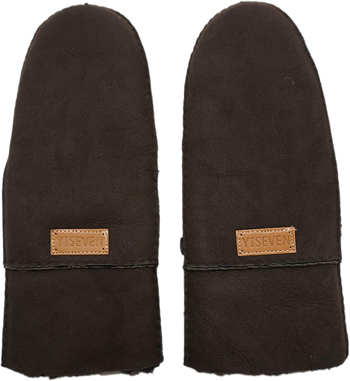 YISEVEN Women's Rugged Sheepskin Shearling Mitten Sherpa Gloves Fur Cuff