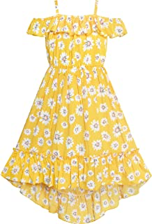Sunny Fashion Girls Dress Off Shoulder Yellow Chiffon Floral Hi-Low Party Size 6-12 Years