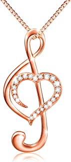 Musical Note Necklace Pendant 925 Sterling Silver Treble Clef Music Jewelry for Women Girlfriend Daughter