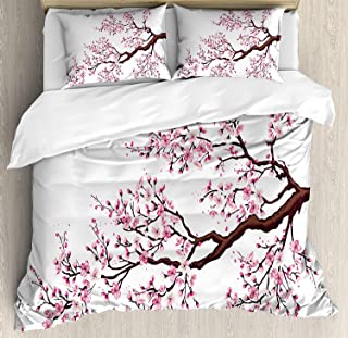 Japanese Bedding Sets, Branch of a Flourishing Sakura Tree Flowers Cherry Blossoms Spring Theme Art, 4 Piece Duvet Cover Set Quilt Bedspread for Childrens/Kids/Teens/Adults, Pink Dark Brown,Full Size