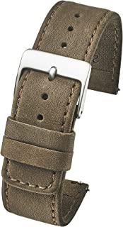 Slim Soft Stitched Genuine Leather Watch Band with Quick Release Spring Bars - White, Black, Brown, Beige - 18mm, 20mm, 22mm