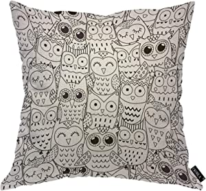 EKOBLA Owl Head Throw Pillow Cover Black and White Cute Animal Sketch Painting Cozy Square Cushion Case for Men Women Boys Girls Room Home Decor Cotton Linen 18x18 Inch
