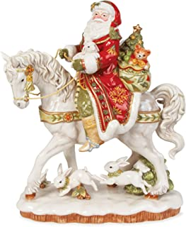 Fitz and Floyd Damask Santa on Horse Figurine, 16-Inch, Holiday Red