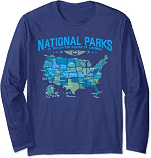 All U.S National Parks Map Camping Long Sleeve Shirt