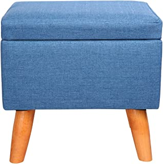 Eshow Square Footstools Wood Storage Stool Rectangular Seat Cube Organizer Home Furniture Ottomans Upholstered Ottoman Foot Stool Handmade Blue
