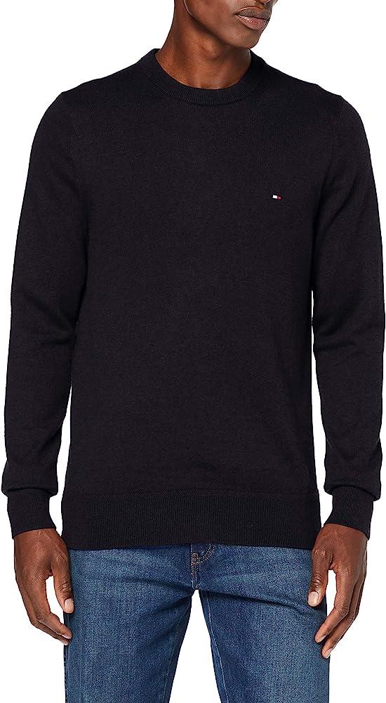 Tommy hilfiger, pima cotton cashmere crew neck, felpa per uomo ,92% cotone, 8% cachemire MW0MW11674