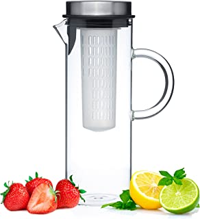 Glass Water Pitcher with Lid & Fruit Infuser Rod - Borosilicate Glass Carafe W/Up to 50Oz/1500ml Capacity - Stainless Steel Lid, BPA Free Infusion Filter - Perfect for Water, Tea, Sangria, Juice