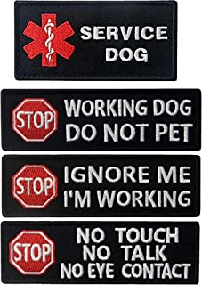 Service Dog No Touch No Talk , Ignore Me I'm Working, Do Not Pet Tactical Military Morale Embroidered Patches with Fastener Hook and Loop Backing