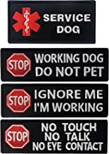 Service Dog No Touch No Talk, Service Dog Ignore Me I'm Working, Service Dog Working Do Not Pet,Service Dog Tactical Military Morale Embroidered Fastener Hook & Loop Patches