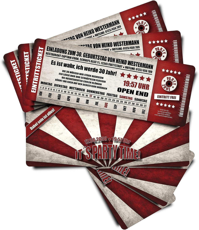 60 Geburtstagskarten Geburtstagseinladungen Einladungskarten Party Party Party Date - rot - Ticket Eintrittskarte mit Abriss-Coupon B076GLNCLJ | Meistverkaufte weltweit  80399f