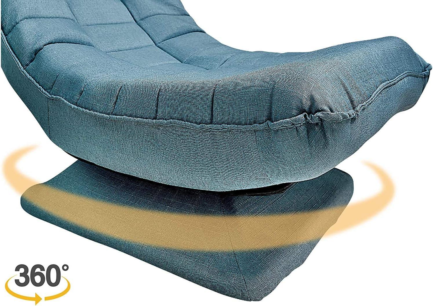 poltrona da gaming piega pavimento,Rotazione di 360 /°poltrona salotto sdraio imbottita Sedia Sdraio per Camera da Letto Soggiorno rivestimento del divano sfoderabile e lavabile-blucolore
