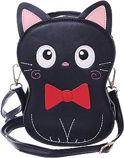 LB-6019-1 Schwarz Katze bestickt Schleife Niedlich Umhänge Damen Tasche Kawaii