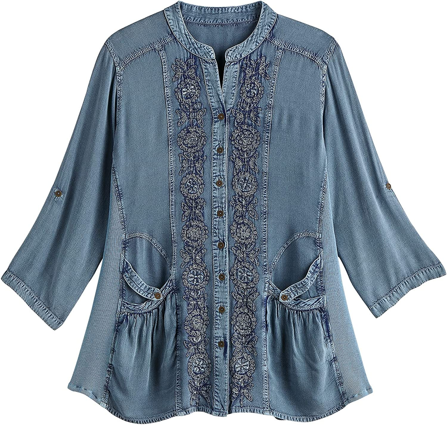 FLORIANA Women's Floral Max 55% OFF Embroidered Tunic Fixed price for sale Top Enzyme Wash Finis