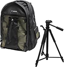 Canon 200EG Deluxe Digital SLR Camera Backpack Case + Photo/Video Tripod for EOS 6D, 7D, 77D, 80D, 5D Mark II III IV, Rebel T6, T6i, T6s, T7i, SL2