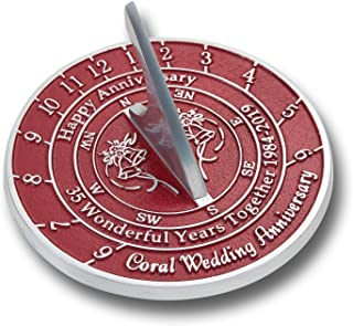ANTIQUECOLLECTION 35th Coral Wedding Anniversary 2019 Sundial Gift Idea is A Great Present for Him, for Her Or for A Couple to Celebrate 35 Years of Marriage