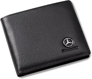 Leather Wallets Mercedes Benz Bifold Leather Unisex Wallet with 3 Card Slots and ID Window (Multicolour)