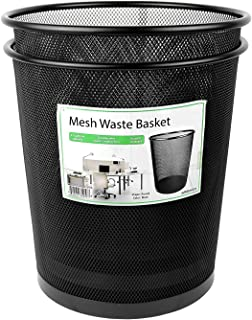 Greenco GRC2586 Mesh Round Wastebasket Trash Can, 4.5 Gallon, Black, 2 Pack