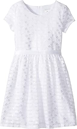 Us Angels - Short Sleeve Embroidered Lace Dress with Full Skirt (Big Kids)