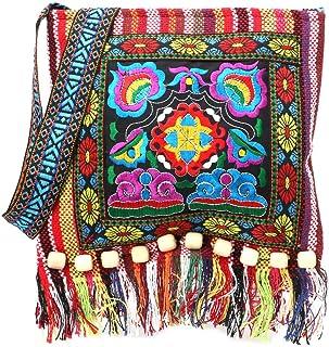 Mekysd Hmong Vintage Ethnic Shoulder Bag Embroidery Boho Hippie Tassel Tote Messenger