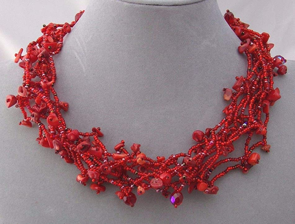 Chunky Red Czech Glass Bead Stone Chip Necklace For Women Magnetic Fashion Jewelry NEW