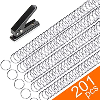 200 Pack Book Rings, Small 1-Inch Metal Rings, Nickel Plated Metal Rings for Flashcards, Index Card Rings, Come with Single Hole Punch Low Force 1-Hole Punch, 20 Sheets Punch Capacity, 1/4