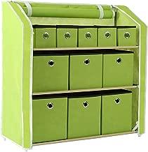 Homebi Multi-Bin Storage Shelf 11 Drawers Storage Chest Linen Organizer Closet Cabinet with Zipper Covered Foldable Fabric Bins and Sturdy Metal Shelf Frame in Green,31