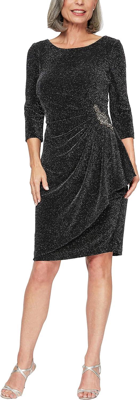 Alex Evenings Women's Short Metallic Dress Side Ruching (Petite Regular Plus Size)