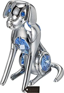 Matashi Dog Figurine Year of The Dog Ornament with Crystal for Home Décor Gifting for Dog Lovers (Blue Crystals, Chrome/Silver)
