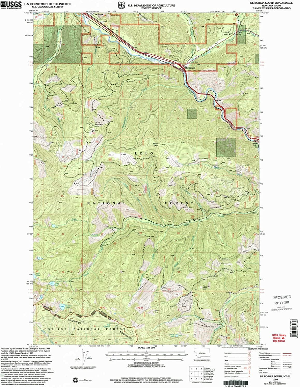 De Borgia South MT topo map, 1 24000 Scale, 7.5 X 7.5 Minute, Historical, 1999, Updated 2003, 27 x 22.1 in