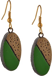 Fashion Handmade Painted Oval Terracotta Hook Earrings