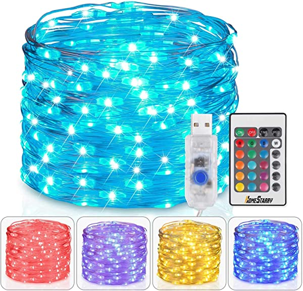 Homestarry Fairy Lights USB Plug In String Lights With Remote 33ft 100LEDs 16 Color Changing Lights Twinkle Firefly Lights For Bedroom Party Wedding Christmas Tapestry Multicolor Colors