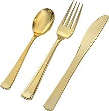 جولدن سيكريتس 7650 طقم ادوات مائدة قابلة للاستعمال مرة واحدة - ذهبي