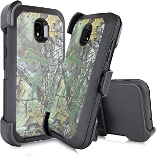 Made for Samsung Galaxy J3 Star 2018, Achieve, J3V 3rd Gen, Express Prime 3, Amp Prime 3 (J337) [Four Layered Protection] Heavy Duty Defender Holster Armor Camo Case W/Built in Screen (Hunter Camo)