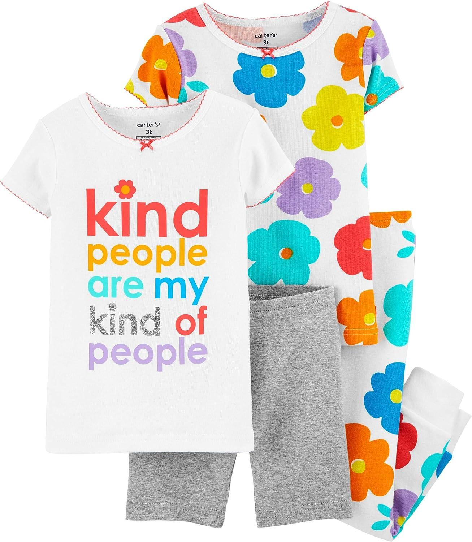 Carter's Toddler and Baby Girls' 4 Piece Cotton Pajama Set (Floral, 9m)