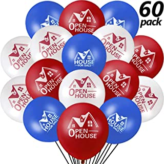 60 Pieces House for Sale Balloons Open House Balloons 12 Inches Latex Balloons for Real Estate Realtor Balloons Supplies Signs for Open House Yard Sign Realtor House Signs