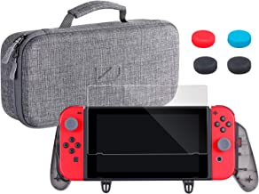Zadii Ergonomic Grip Pro Case Bundle Compatible with Nintendo Switch, Includes Comfortable Grip, Carry Case and Tempered G...