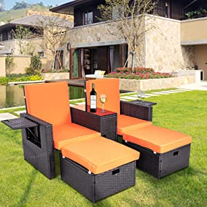 YOURLITE 5 Pieces Patio Furniture Set, Outdoor PE Rattan Wicker Chair & Ottoman Set, Conversation Sets with Coffee Table Footstool for Porch Garden Backyard