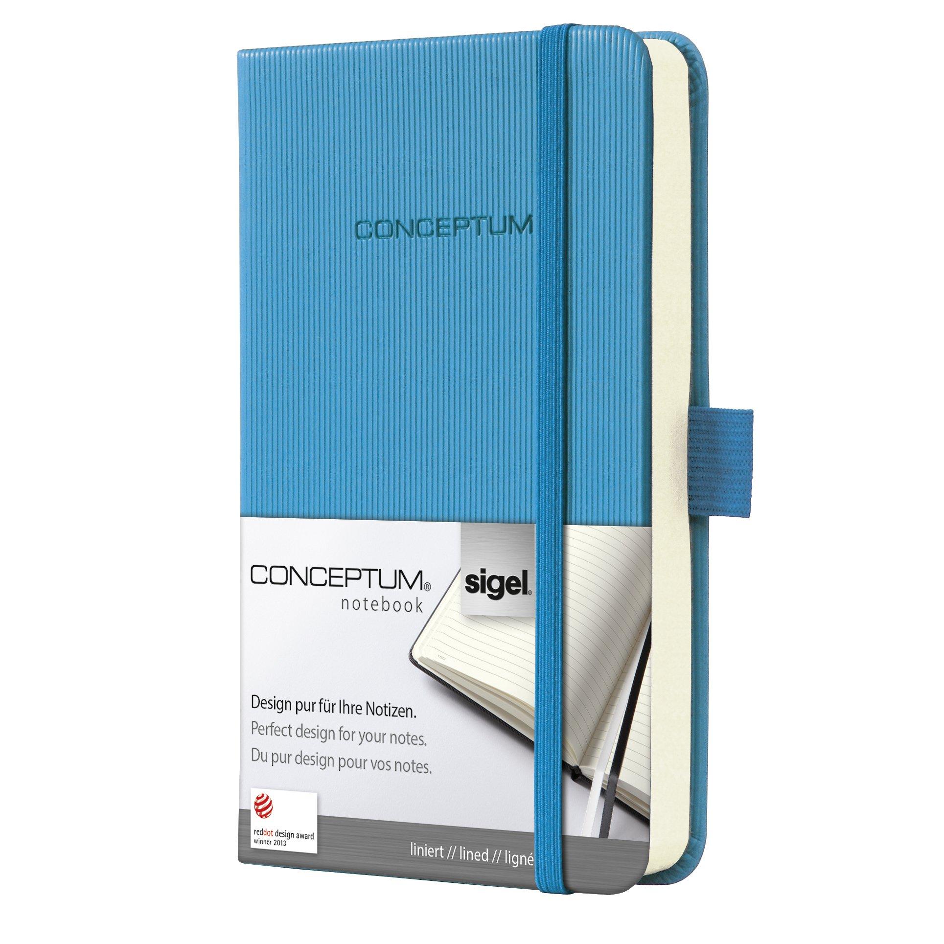 SIGEL CO578 Carnet de notes, env. A6 9,5 x 15 cm, ligné, couverture rigide, bleu - Conceptum