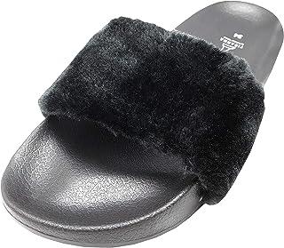 TIRANNA - Sandalia de Meter/Estilo Slide para Dama, Peluche Color Negro