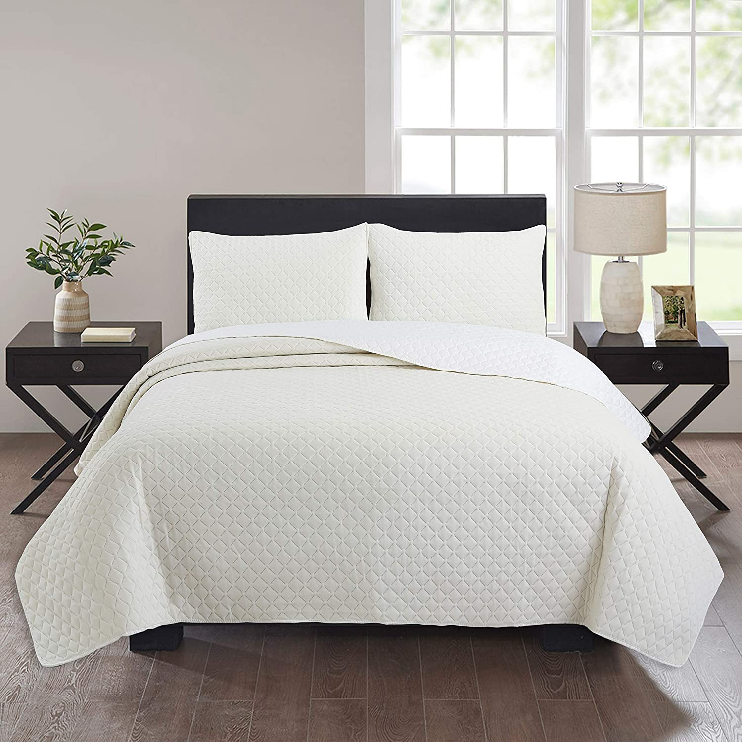 Charcole NIUD/ÉCOR HOME 3-Piece Quilt Set Basket Weave Pattern Bedspread Full//Queen Soft Microfiber Lightweight Coverlet for All Season