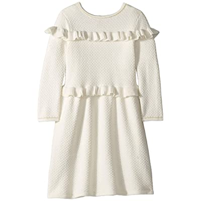 Janie and Jack Double Ruffle Sweater Dress (Toddler/Little Kids/Big Kids) (White) Girl