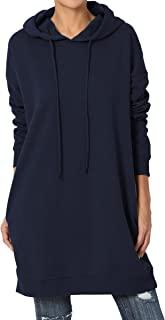 TheMogan S~3X Loose Fit Pocket Pullover OR Zip Up Hoodie Long Tunic Sweatshirts